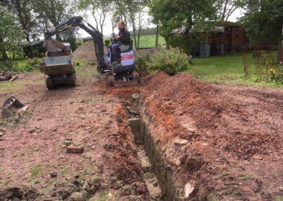 Minigraver sleuf graven ten behoeve van aanleg riolering
