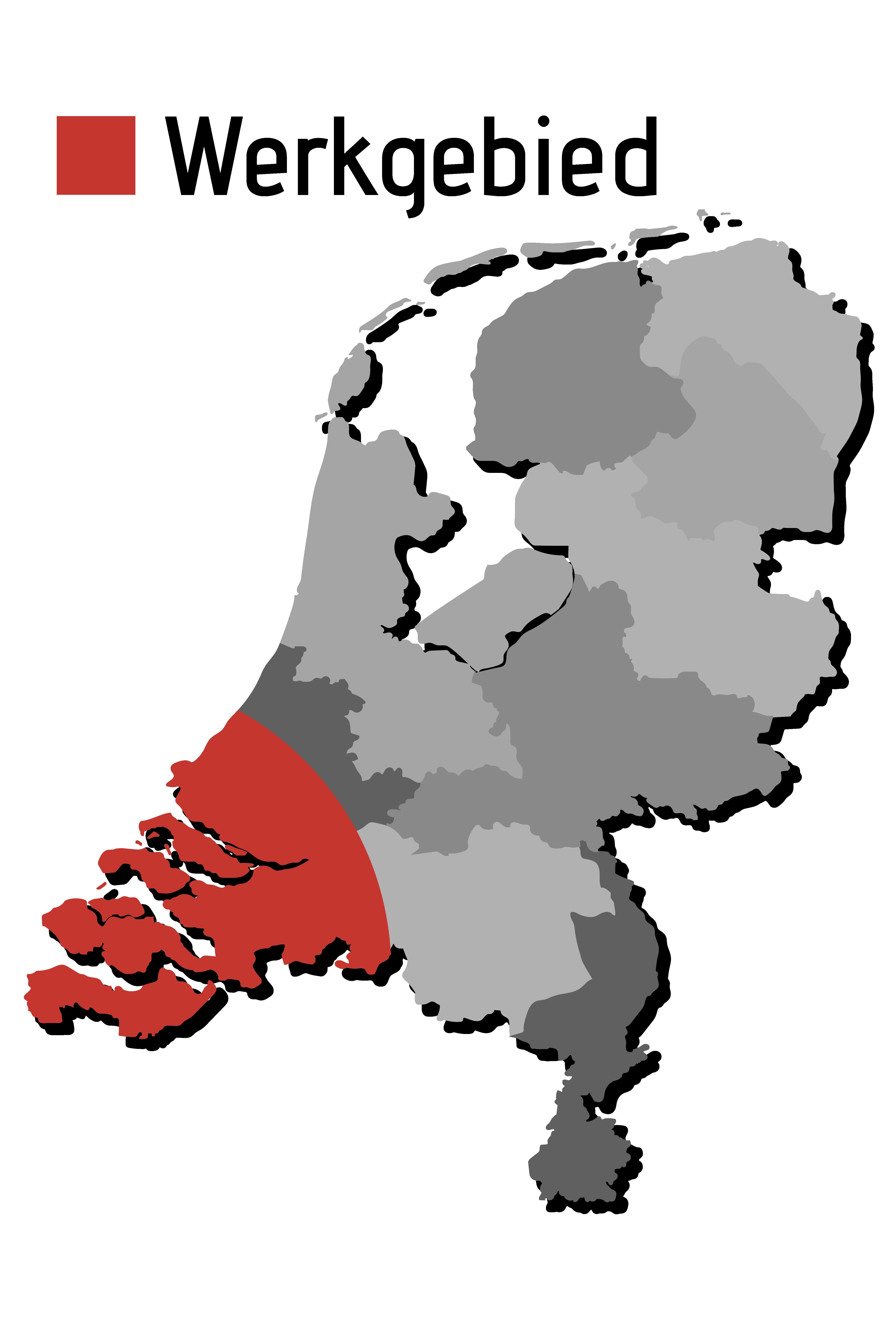 Kaart met werkgebied Zuid-West Nederland